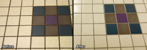 Tile and grout floor before and after cleaning