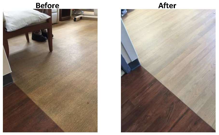 Before and after hardwood floor cleaning demo
