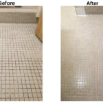 Bathroom tile floor before and after cleaning