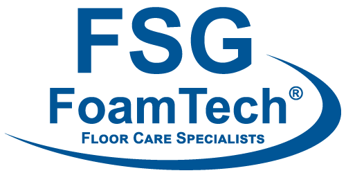 "FSG Foamtech logo with tagline ""Floor Care Specialists"" in FSG blue"