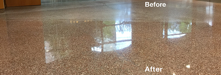 Stone floor before and after cleaning with FSG's proprietary Foamtech method